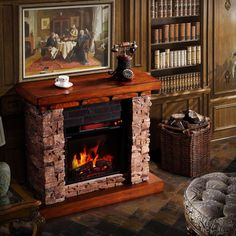 Add a classic and cozy touch to your home decor with this free standing electric flame fireplace. Finished with stacked faux stone and an oak top, this beautiful fireplace features a 23-inch firebox and plugs into any standard household outlet.