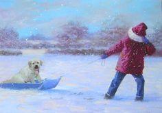 Leanin' Tree Richard Garland Child Puppy Dog Sled Snow Christmas Greeting Card