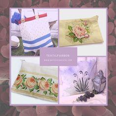 Du hast alte Textilien zuhause, die einen neuen Look vertragen könnten? Dann probier' doch mal unsere Textilfarben aus! Damit lassen sich ganz leicht individuelle Muster und Verzierungen machen  😍 Tableware, Embellishments, Textiles, Ad Home, Patterns, Colors, Crafting, Kids, Dinnerware