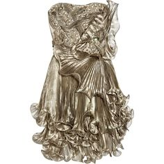 Marchesa Knife-pleated metallic silk-organza dress (€2.520) ❤ liked on Polyvore featuring dresses, vestidos, short dresses, marchesa, short strapless dresses, beaded cocktail dresses, short brown dress, short beaded cocktail dresses and metallic dress
