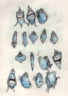 Finding Nemo - concept art - Dory sketches