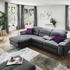 """Atraktivní moderní sedací souprava s komfortními funkcemi, dostupná v látkovém i celokoženém provedení. Velmi variabilní, modulový systém skládání do různých rohových sestav, sestav tvaru """"U"""" a nebo jako samostatná sofa. Polohovatelná část hlavové části opěradla s rastrovým mechanismem u každého elementu ve standardu. Basel, Places, Design, Furniture, Home Decor, Products, Tall Stools, New Furniture, Homes"""