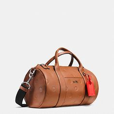 Small Barrel Bag in Saddle Dot Embossed Leather