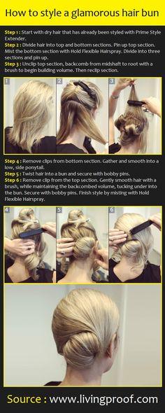 How to style a glamorous hair bun | Pinterest Tutorials