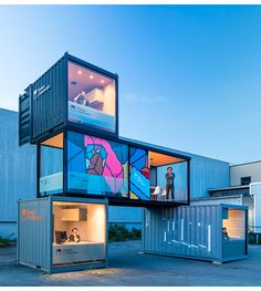 Container Site Offices / Powers Construction Container Restaurant, Container Cafe, Cargo Container Homes, Building A Container Home, Shipping Container Buildings, Shipping Container Home Designs, Shipping Container House Plans, Shipping Containers, Container Architecture
