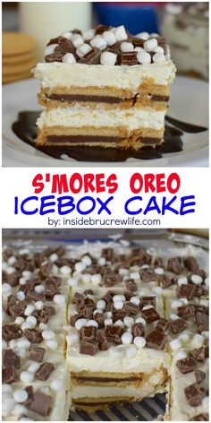 Layers of chocolate, marshmallow, and Oreo cookies give this easy no bake icebox cake a s'mores twist.  Perfect for picnics and parties!