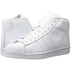 adidas Originals Pro Model (Footwear White/Footwear White/White) Men's... ($90) ❤ liked on Polyvore featuring men's fashion, men's shoes, mens white shoes and mens shoes