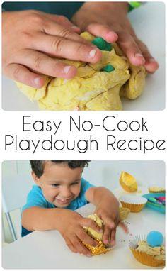 Flour & Oil Easy No Cook Playdough Recipe - In The Playroom
