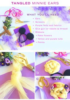 DIY: Tangled-Inspired Minnie Ears - DIY: Tangled Minnie Ears Best Picture For diy furniture For Your Taste You are looking for someth - Disney Cute, Diy Disney Ears, Disney Mickey Ears, Disney Babies, Diy Mickey Mouse Ears, Evil Disney, Disney Bows, Disney Stuff, Disney Diy Crafts