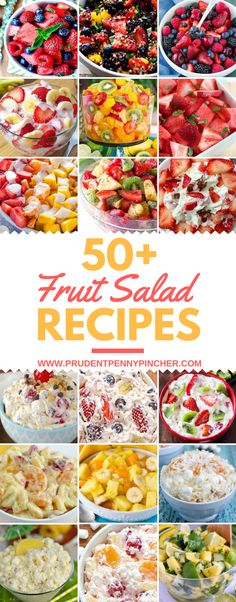 These cool and refreshing fruit salads are delicious and SO easy to make! They are the perfect way to celebrate summer. Bring them for brunch, cookouts, potlucks and more! There are over 50 of the best fruit salad recipes including tropical, berry and dessert fruit salads. Berry Fruit Salads Strawberry Watermelon Salad from Giggles Galore Berry Cantaloupe …