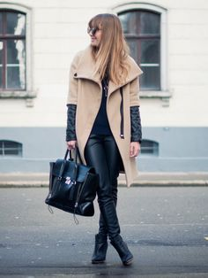 When leather meets camel, chic things happen. Source: Lookbook.nu