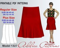 8-gore Flared Knee Length Skirt Sewing Pattern PDF | Craftsy