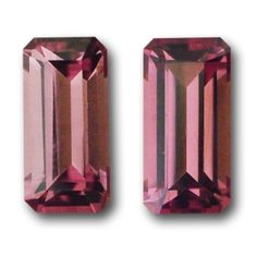 A gorgeous pair of Orange/Pink Tourmalines, lovely dusky orange/pink color with bright flashes. A very striking pair of Emerald Cuts. 2.13 carats