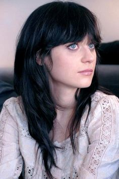 Zooey Deschanel Long Hairstyle: Straight Black Haircut