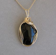 Black Onyx WireWrapped Pendant by DesignsbyDorris on Etsy, $50.00