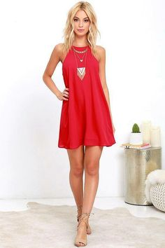Cross your most recent crush off your list, because the Lucy Love Charlie Red Shift Dress is new and cute, and catching your eye! This tank-style dress has a sleeveless bodice, rounded neckline, and shift silhouette all composed of woven poly. Little Dresses, Women's Dresses, Cute Dresses, Casual Dresses, Short Dresses, Fashion Dresses, Dress Long, Red Dress Casual, Cute Dress Outfits