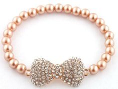 Ladies Light Gold Iced Out 3D Bow Bracelet with Pearl Beaded Disco Balls Shamballah JOTW. $2.95. Great Quality Jewelry!. 100% Satisfaction Guaranteed!