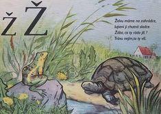 Learning About the Czech Alphabet Alphabet Words, Alphabet Print, School Posters, Make A Donation, Jaba, Textbook, Teaching, Activities, Retro