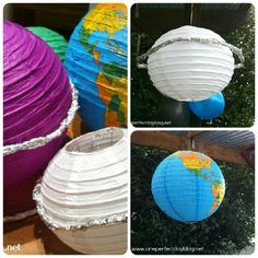 space birthday party decorations-- chinese lanterns as planets
