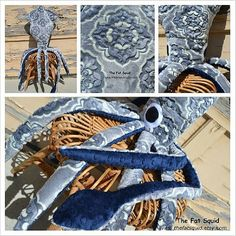Giant Floral Squid Stuffed Animal  Gray & Navy Blue by TheFatSquid, $115.00
