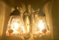cute lamp idea  http://nancysdailydish.blogspot.com/2011/07/1980s-brass-light-fixtures-get-seashell.html