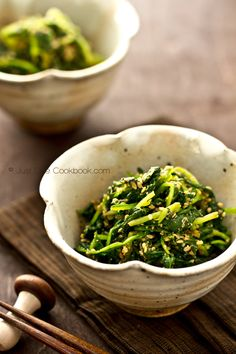 Spinach Gomaae | Spinach with Sesame Sauce . Gomaae is so tasty and always a hit at a dinner party.  Use black sesame instead of white if you can find it.  It has a deeper and rustic aroma.  My mom always uses black and so do I. Yum!