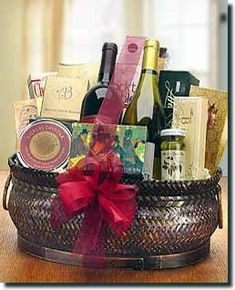 Deluxe Red Wine and Gourmet Basket - Two Bottles - http://giftbasketblessings.com/product/deluxe-red-wine-and-gourmet-basket-two-bottles/