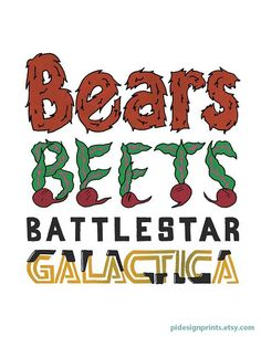 """The Office Quote 'Bears Beets Battlestar Galactica"""" Poster by Pi Design Prints on Etsy   Funny The Office Quote"""