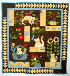 My February UFO finished--yay! Susie& World pattern by Bonnie Sullivan for Simply Vintage magazine I was lucky to find this old Thim. Cat Quilt Patterns, Wool Applique Patterns, Applique Quilts, Hand Applique, Wool Quilts, Baby Quilts, Felt Pillow, Blackbird Designs, Sampler Quilts