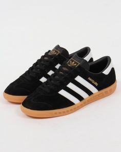 Adidas Hamburg Trainers Black/White/Gum,originals,shoes,mens,sneakers