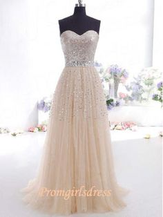 Ivory Sequins Modest Strapless Long Prom Dress by Promgirlsdress, $149.00