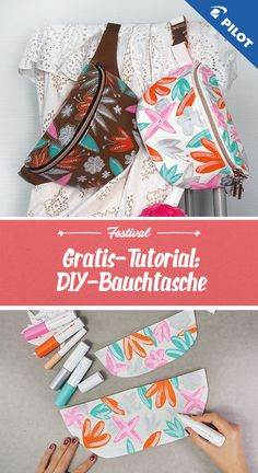 With our tutorial including patterns and PINTOR creative markers you can sew a fanny pack to your taste Sewing Tutorials, Sewing Crafts, Sewing Projects, Sewing Patterns, Diy Clothes Bag, Fanny Pack Pattern, Diy Pochette, Book Purse, Diy Bags Purses