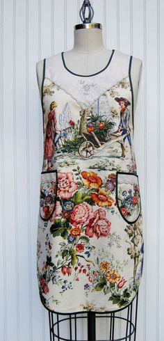 Spring-Apron. Great funky fabric. With black bias binding.