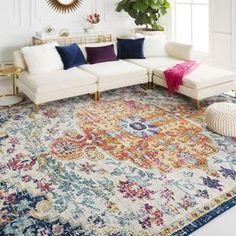 x Colourful Living Room, Boho Living Room, Colorful Rugs, Living Room Rugs, Living Room Oriental Rug, Bright Living Room Decor, Bedroom Carpet, Living Room Carpet, Tapetes Vintage