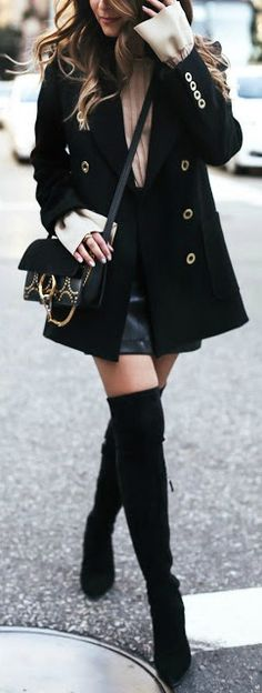 OTK boots + leather mini.