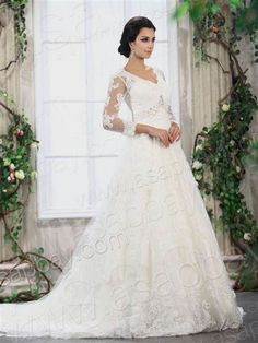Awesome a line wedding dresses with 3/4 sleeves 2018/2019 Check more at http://24myfashion.com/2016/a-line-wedding-dresses-with-34-sleeves-20182019/