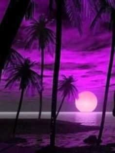 **Purple Sunset** with Beautiful Colors all around. Step one To having a beautiful sunset, Be sure to have the right lighting surrounding you, but if that does not work then just add your own color then. Purple Sunset, Purple Love, All Things Purple, Shades Of Purple, Purple Beach, Purple Stuff, Pink, Sunset Beach, Magenta