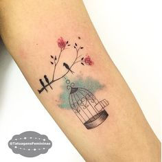 Bird and bird cage tattoo by Carlagalvaotattoo.   These tattoos for women will bring out the beauty within, they are the depiction of dreams, they are there to compliment your skin, not take over. Enjoy!
