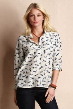 Womens Birds & Bees Popover Shirt from Lands End Canvas