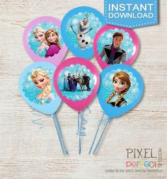 Frozen Balloon Stickers available immediately after payment is received. Frozen Birthday Invitations, Thank You Cards and Party Favors for any occasion! All custom and original designs created by Pixel Perfect Shoppe. :)