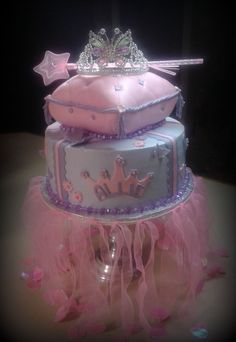 """Pillow is a fondant covered 8x8 (carved).   Bottom tier is a 10"""" butter cream cake with fondant accents.   I hate that I didn't take more pictures.    There are lots of hearts and butterflies all around the cake."""