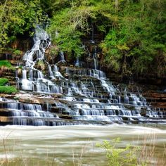Rock Island State Park, Sparta, Tennessee - The main falls in rock...