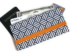 Travel Document Holder/ Passport and Boarding Pass Holder / Family Fabric Passport Wallet / Long Travel Wallet /Travel Gift (Navy Weave)
