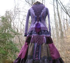 Patchwork corset style sweater COAT with lace appliqué and ruffle collar. Size Small/Medium. Ready to ship