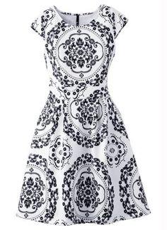 Vestido em Look Scuba (Branco/Preto)