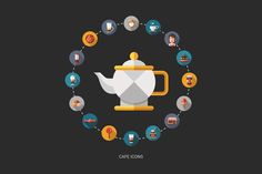 Coffee Shop Flat Design Icons Set by Decorwith.me Shop on Creative Market