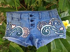 upcycled denim shorts with hand drawn sparrows by reMusedClothing, $55.00