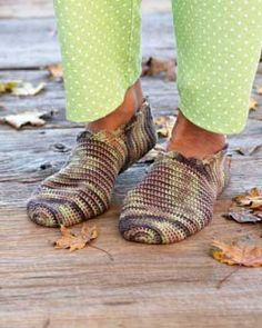 Crocheted Slippers  http://www.favecrafts.com/Crochet-Socks-and-Slippers/Crochet-Slippers