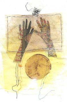 An identity, stitched together, collage with tea bags. By Ines Seidel