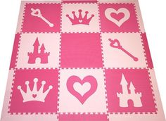 SoftTiles Princess Theme Play Mat Set with Borders Pink and Light Pink